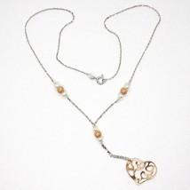 Collier Argent 925, Perles, Cœur Rose Pendentif, Travaillé Satin Ondulé image 1