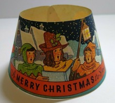 Vintage 1940s Milk Bottle Collar Merry Christmas Carolers Art Original Wolf - $19.31