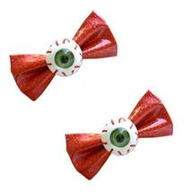 2 RED Gillter Bowknot Harajuku Girls' Hair Clips Eye Ball Zipper Hair Barrettes