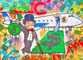 "Alec Monopoly Fairey Oil Painting on Canvas Handcraft No.90 Airplane 28x36"" - $29.69"