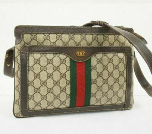 Auth GUCCI Shoulder Bag Brown OLD Gucci Accessory Collection Vintage GG G239