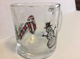Starbucks Clear Glass Christmas Holiday Snowman Candy Cane Coffee Mug Te... - $17.81