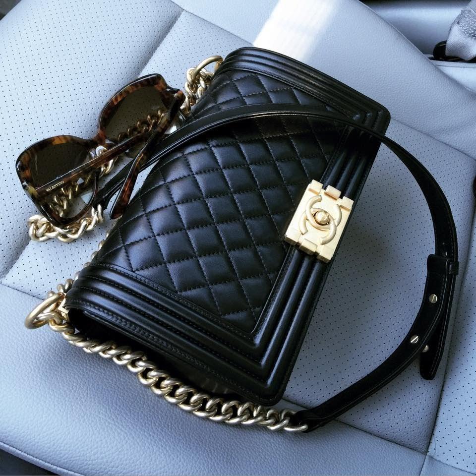 82ae6e936f25 AUTHENTIC CHANEL 2017 Black Lambskin Quilted Medium Boy Flap Bag GHW -  Handbags & Purses