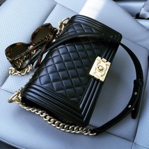 AUTHENTIC CHANEL 2017 Black Lambskin Quilted Medium Boy Flap Bag GHW image 11