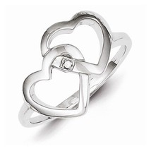 STERLING SILVER DIAMOND ACCENT INTERWINED HEART / HEARTS  RING - SIZE 7 - £26.07 GBP