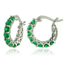 """with Swarovski Crystals Twinkling Tinseltown - Green Hoop Earrings 0.86"""" - $9.79"""