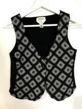 Talbots Sweater Vest Gray & Black Warm 100% Merino Wool Button Front SZ ... - $11.38