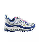 Nike Sz 4.5Y Air Max 98 Sneaker BV4872-101 White Amirillo Indigo GS New - $91.04