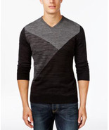 Alfani Men's Marled Intarsia V-Neck 100 % Cotton Sweater Deep Black - $24.99