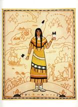 Pocahantas Native American Woman Indian Heroine Vintage Print of Needlep... - $24.99