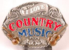 I LOVE COUNTRY MUSIC Belt Buckle-SISKIYOU-1983-E-80-Fiddle Guitar-Made i... - $18.69