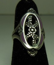 Vintage Sterling Silver Ring Floral Design Purple Enamel - €10,78 EUR