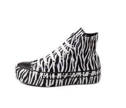 Converse Black & White Safari ZEBRA Stripes HI TOP Shoes Wms DISC Unique... - $62.99
