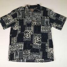 Hilo Hattie Mens Sz L Hawaiian Turtle Tribal Aloha Shirt Tropical Short ... - $22.70
