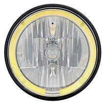 """United Pacific Harley Motorcycle 7"""" Round Crystal Headlight Lamp Amber LED Halo  - $63.19"""