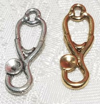 STETHOSCOPE FINE PEWTER PENDANT CHARM - 9mm L x 24mm W x 2mm D image 1