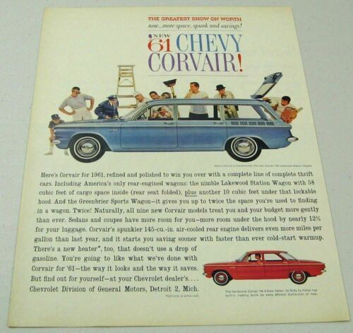 Primary image for 1961 Print Ad Chevy Corvair 700 Lakewood Station Wagon & 4-Door Sedan Chevrolet