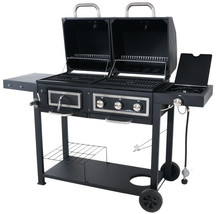 Dual Fuel Grill Barbecue Outdoor Patio Gas Charcoal Combination Steel Ir... - $210.87