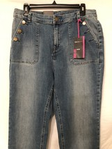 Denim Jeans Boot Leg High Rise Back Pockets Brass Buttons Brand New 14 S... - $15.84