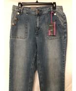 Denim Jeans Boot Leg High Rise Back Pockets Brass Buttons Brand New 14 S... - $15.84