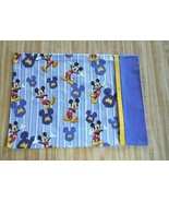 TRAVEL Toddler SIZE PILLOWCASE 2 SIDED MICKEY MOUSE  Blue CUFF  - $9.41