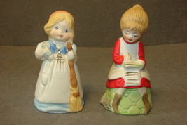 2 Jasco Ceramic Bisque Figurine Merri-Bells - VINTAGE! - $11.00