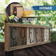HBCY Creations Rustic Coffee Mug Rack Wall Mounted, Printed Coffee Sign - 6 Coff image 2