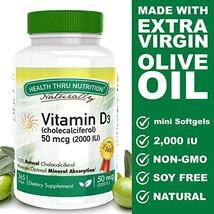 Vitamin D3 2000 IU 50 mcg, 365 Mini Softgels, Soy Free, Non-GMO, Gluten Free, Na