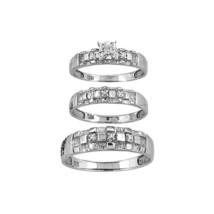10kt White Gold His & Her Round Diamond Matching Bridal Wedding Ring Set - $500.00