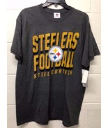 NWT NFL MEN'S Pittsburgh Steelers Gray Football fan T-Shirt M-XL - $9.09