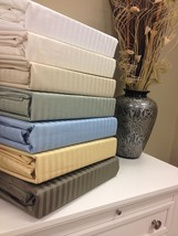"650 Thread Count Striped Cotton Wrinkle Free Sheet Set 18"" Deep Pockets - $75.99+"