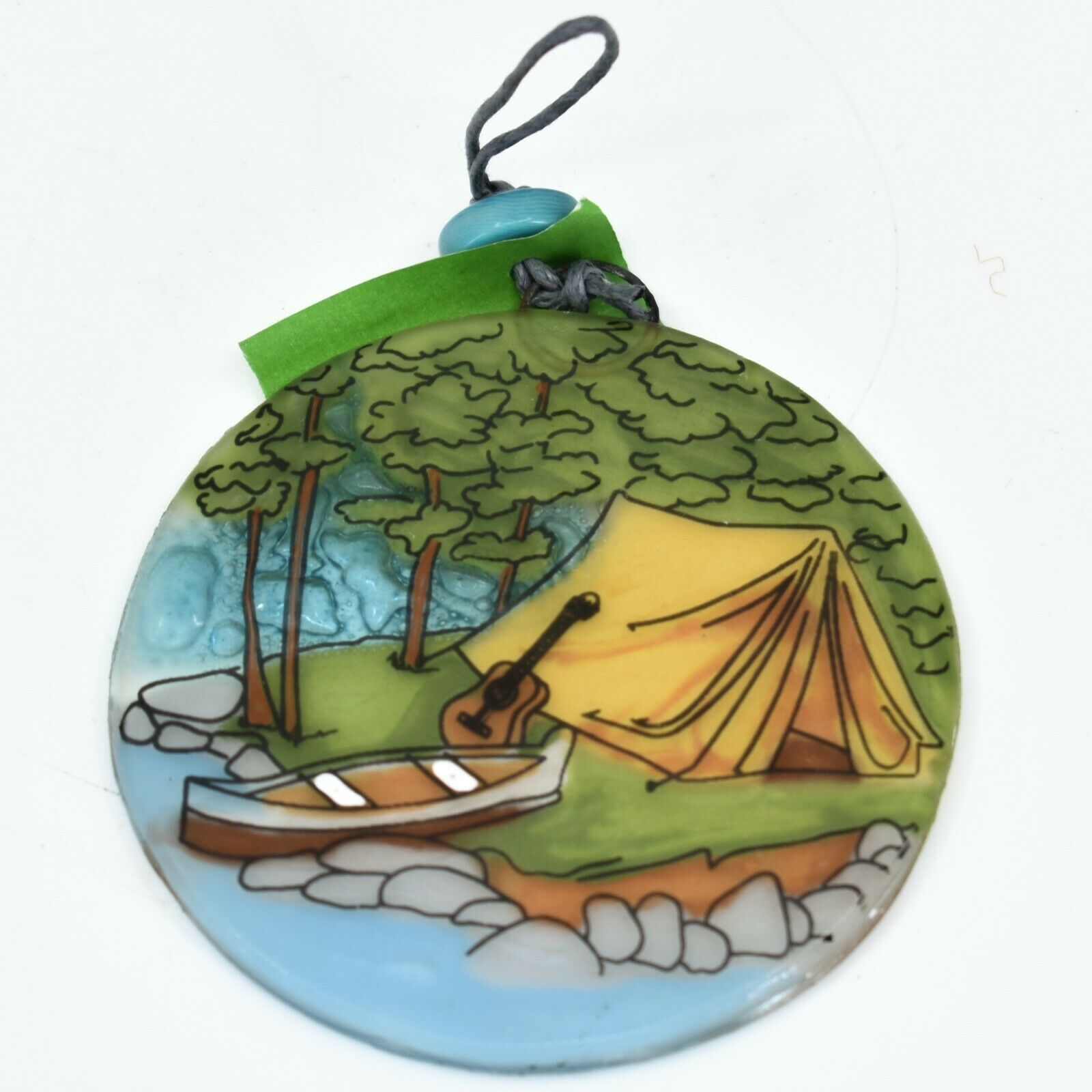 Lakeside Tent Camping Fused Art Glass Ornament Sun Catcher Handmade Ecuador