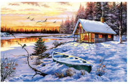 """Sunsout """"Log Cabin"""" Jigsaw Puzzle By The Macneil Studio 550 Pieces No Box! - $7.92"""
