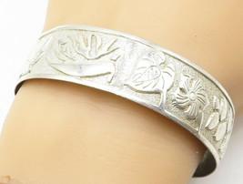 925 Sterling Silver - Vintage Embossed Floral Patterned Bangle Bracelet ... - $112.30