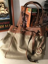 New  Michael Kors MARINA Large Gold Drawstring Tote/ Shoulder Bag. MFSRP... - $173.25