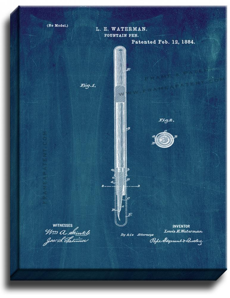 Primary image for Fountain Pen Patent Print Midnight Blue on Canvas