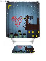 Funny Animal Cat Love 49 Shower Curtain Waterproof Polyester Fabric & Bath Mat B - $15.30+