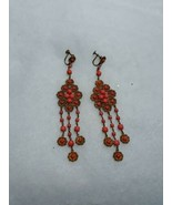 ANTIQUE ART NOUVEAU DECO FAUX CORAL VICTORIAN LONG CHANDELIER OLD EARRINGS  - $250.00