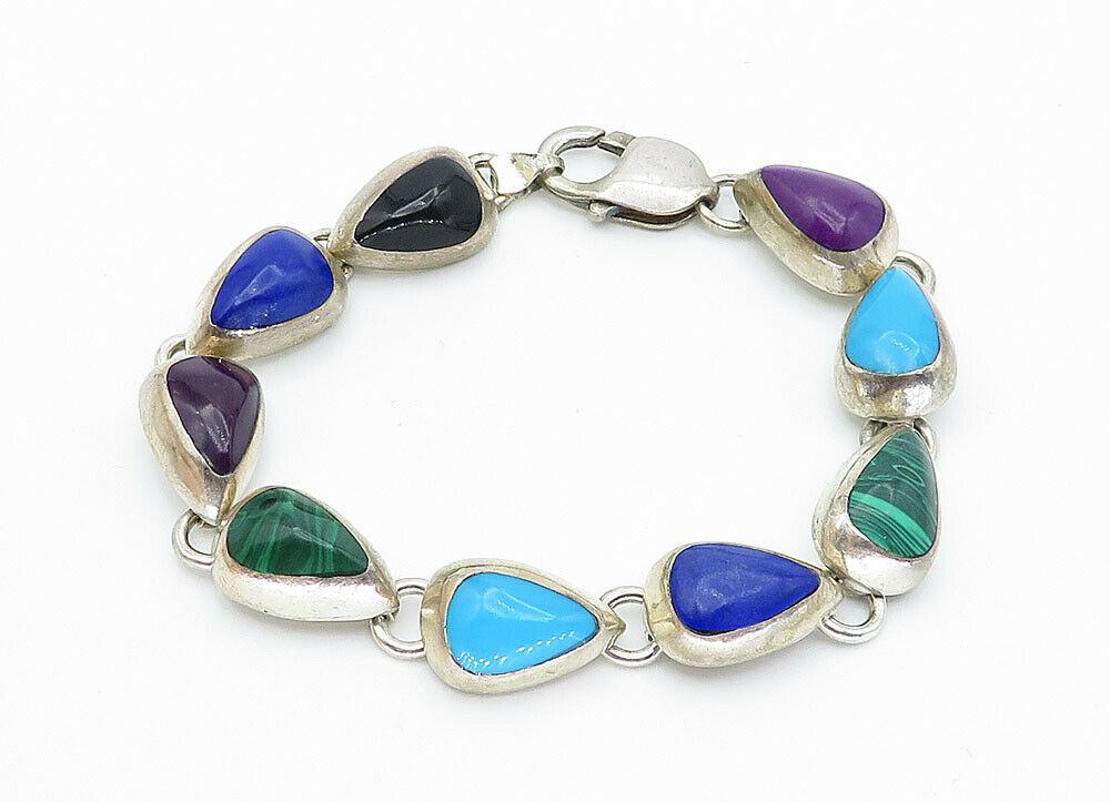 MEXICO 925 Silver - Vintage Onyx Turquoise & Malachite Chain Bracelet - B5949