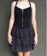 Juniors Black & Purple Strappy Party Mini Dress • Multi Tier Smocked S •... - $16.78