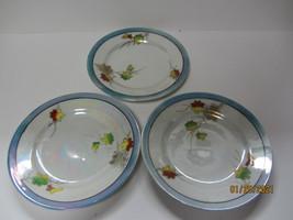 3 VINTAGE JAPANESE PORCELAIN SEIEI CO LEAF DESIGN LUSTERWARE DESSERT PLATES - $9.99