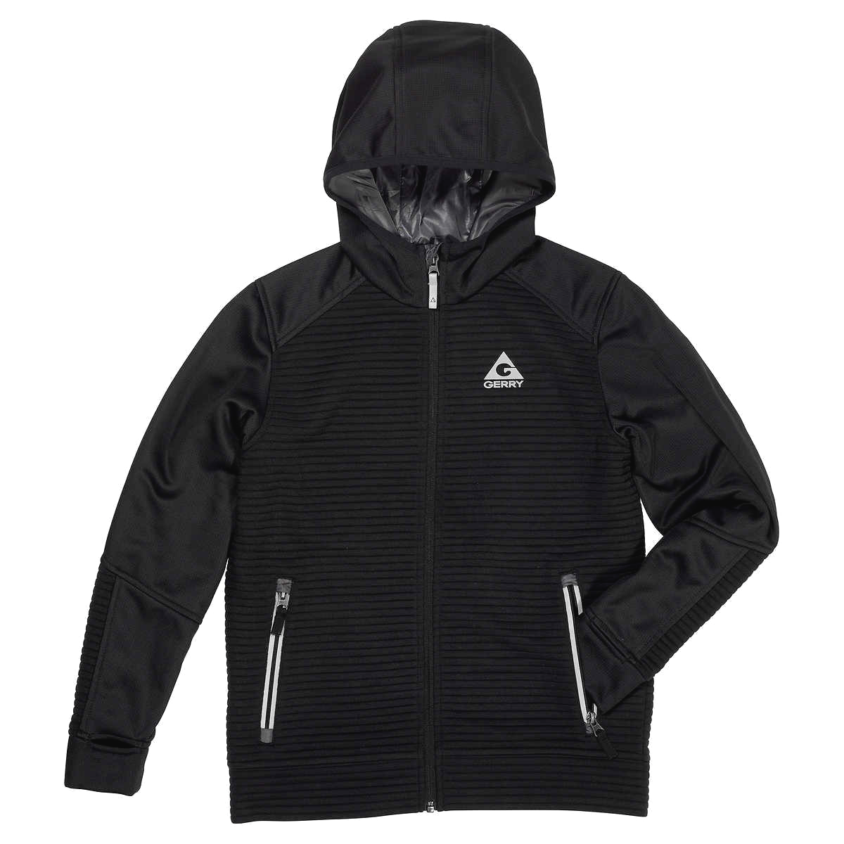 Gerry Youth Kid's Black Full Zip Ribbed Hooded Jacket XS 5-6