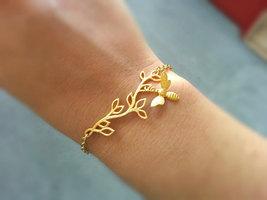 Matte Gold Bee Branch Bracelet Woodland Bracelet Gold Bee Bracelet Gold ... - $38.00
