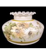 """Student Lamp Shade Milk Glass 10"""" Daisy Floral Gold White Desk Table Cha... - $59.95"""