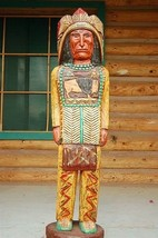 4' Cigar Store Indian Chief 4 ft Wooden Sculpture by Native Amer Frank G... - $939.00