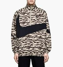 Nike Men's Sportswear Woven Swoosh Jacket NEW AUTHENTIC Khaki/Black AO08... - $84.49
