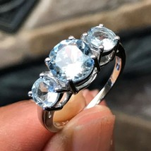 AAA Natural 2ct Aquamarine 925 Solid Sterling Silver 3-Stone Ring sz 9 - $197.99