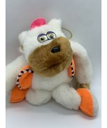 King Plush White Ape Monkey in Orange Vest Stuffed Animal Suction Cup To... - $11.00