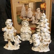 Grandeur Noel Porcelain Snowman Family Figurine Set Christmas Decor Tree... - $79.19
