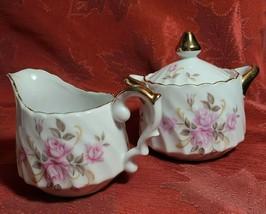 Vintage Lefton Roses W/ Gold Trim Hand Painted Creamer & Covered Sugar Bowl 3167 - $12.86